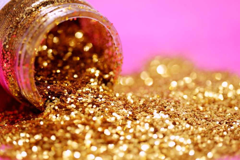 gold glitter with jar