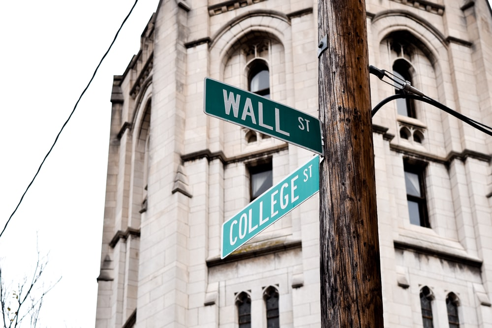 Wall Street signage on brown wooden post