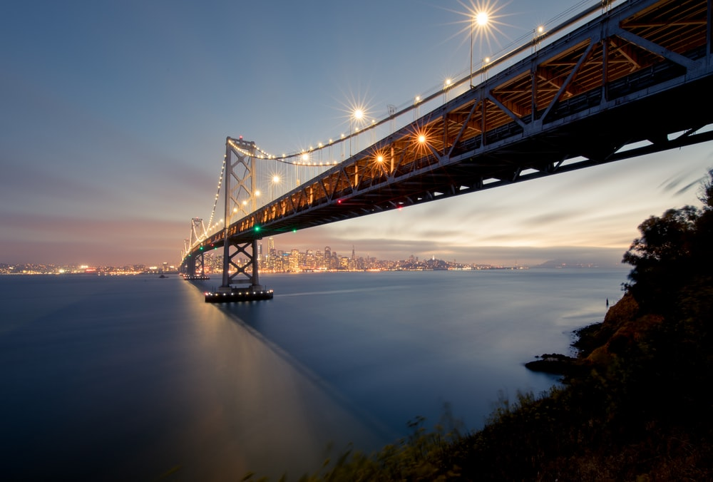 low angle photography of concrete bridge