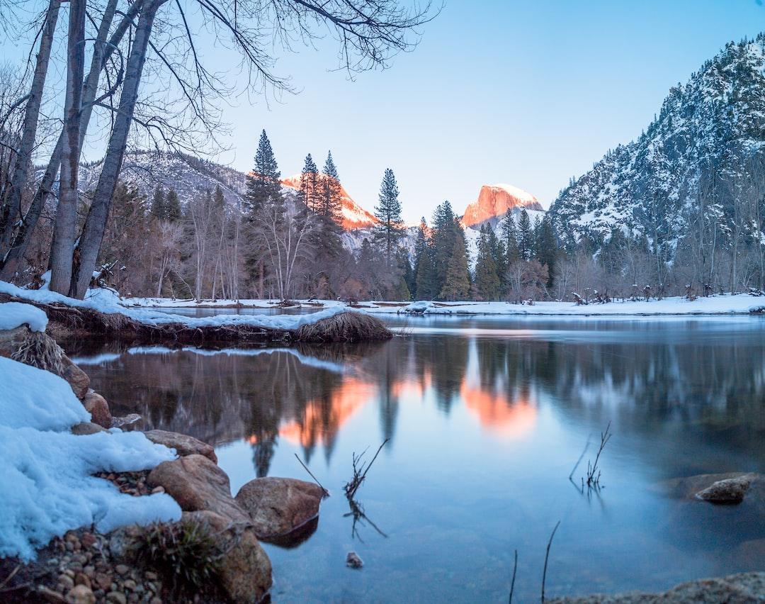 Winter sunset over Half Dome in Yosemite