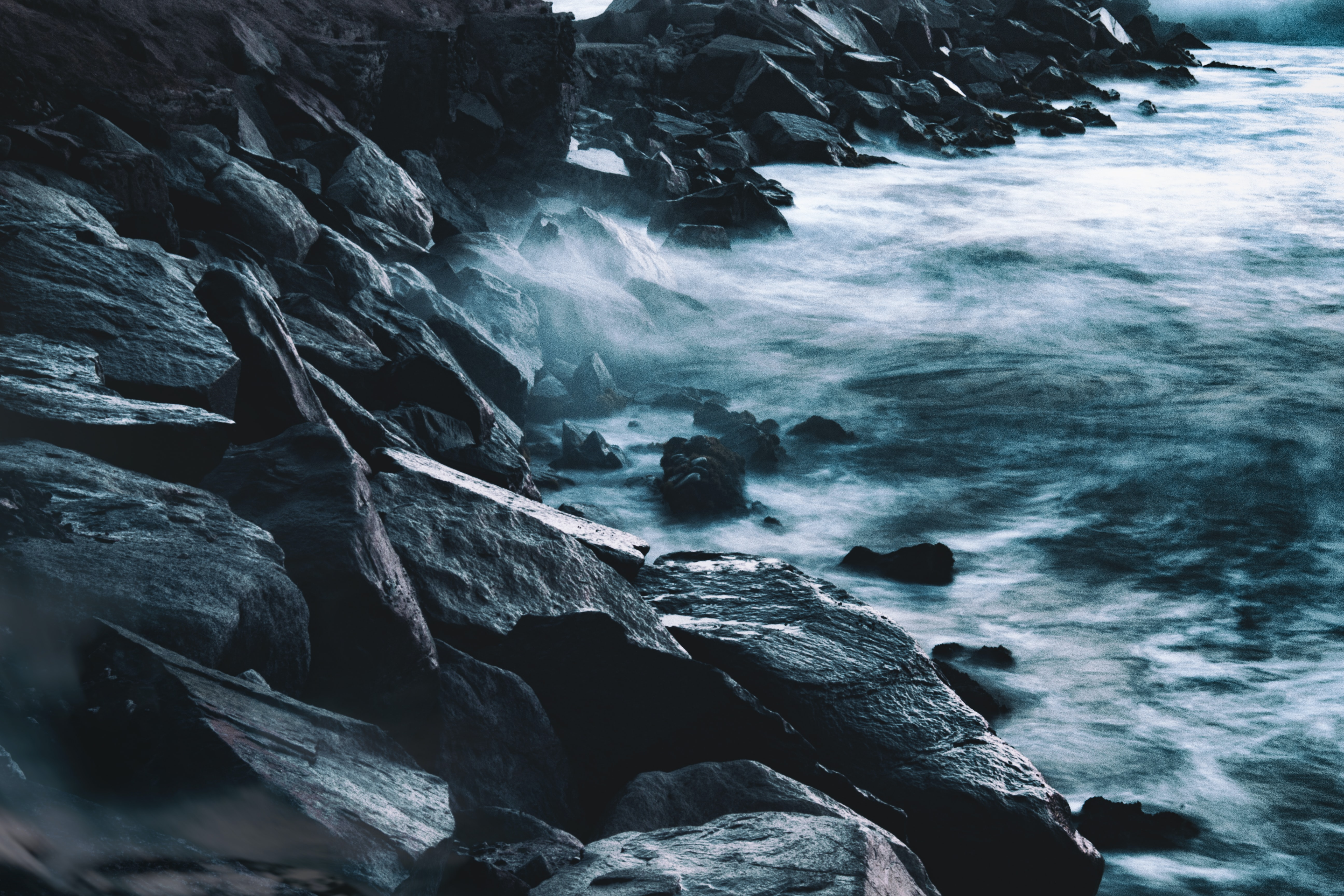 splashing waves on rocks