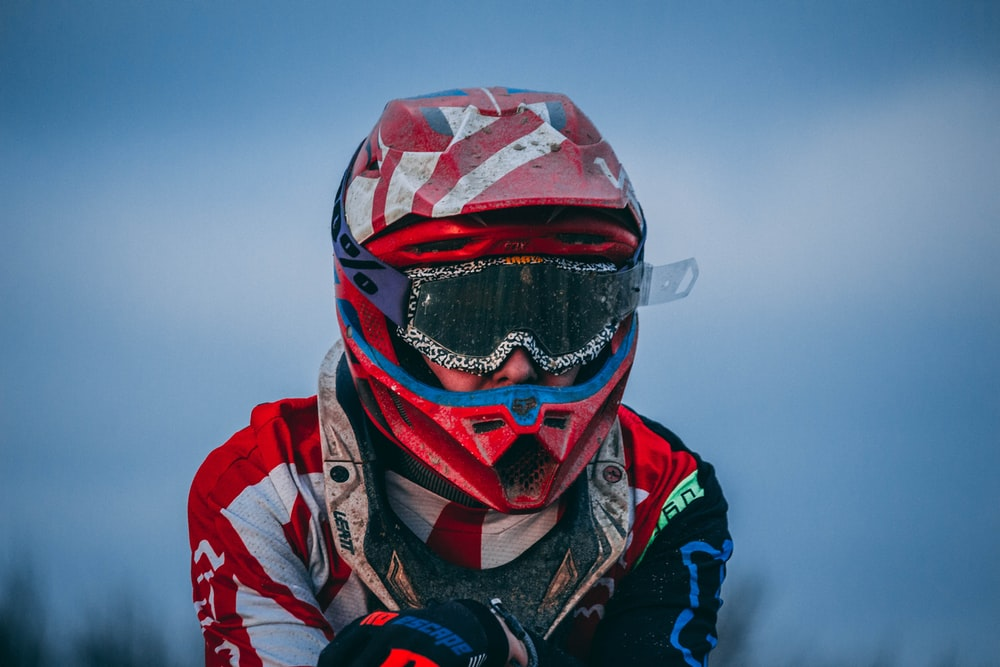man wearings motocross helmet