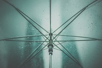 gray umbrella with rain drops