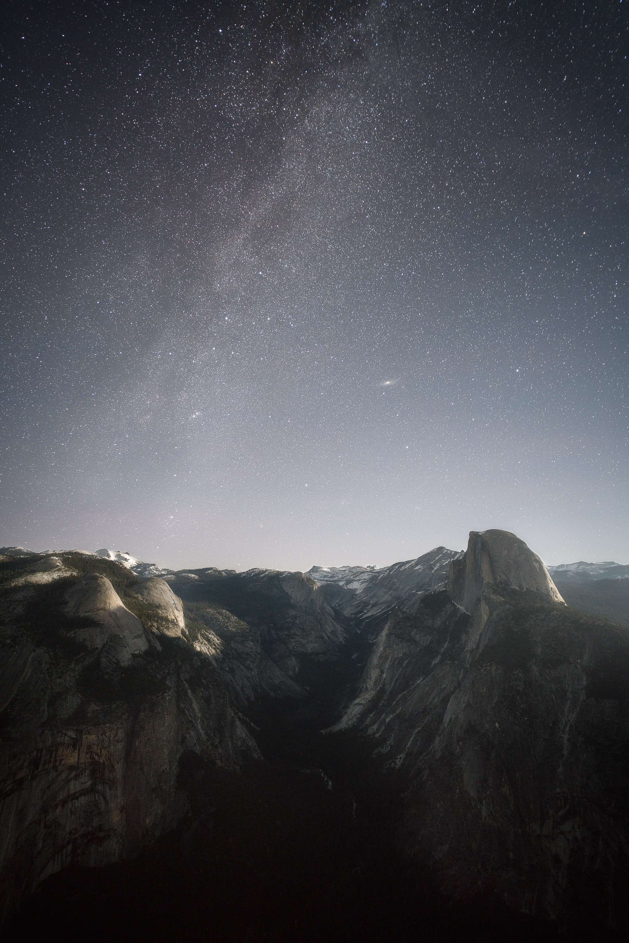 gray mountain under stars