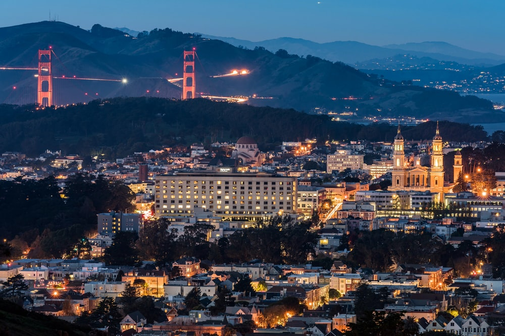 aerial photography of San Francisco, California at nighttime