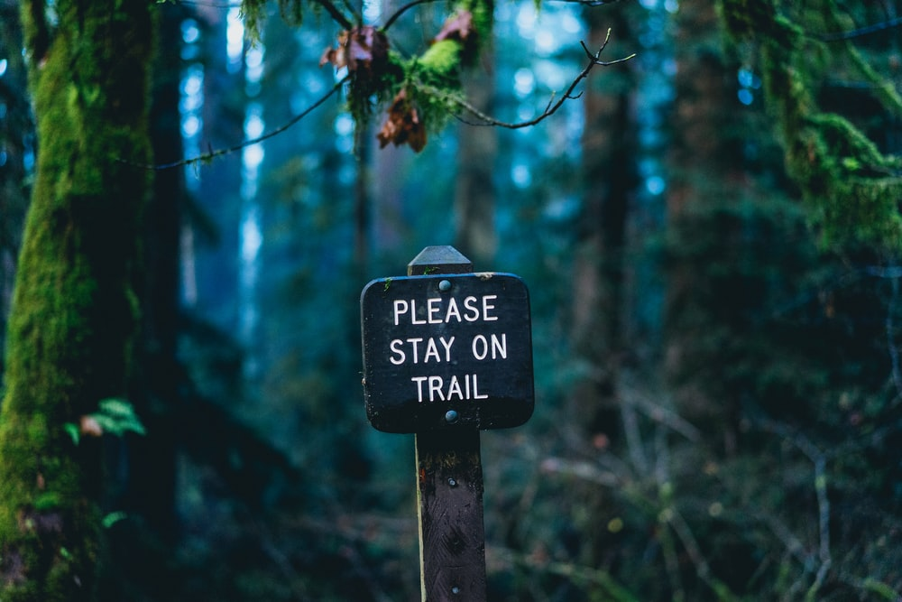 please stay on trail signage on forest