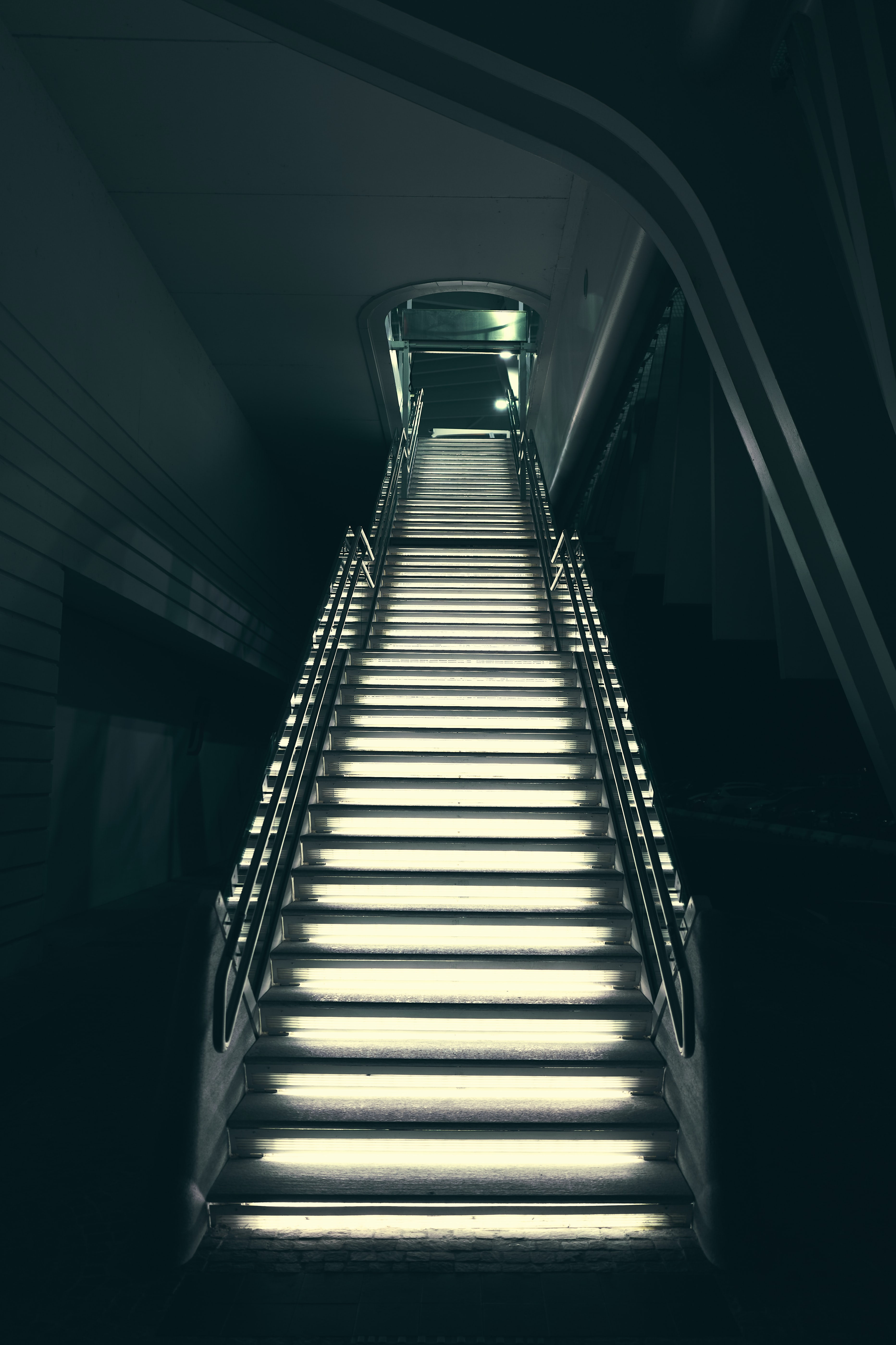 low angle view of gray stairs