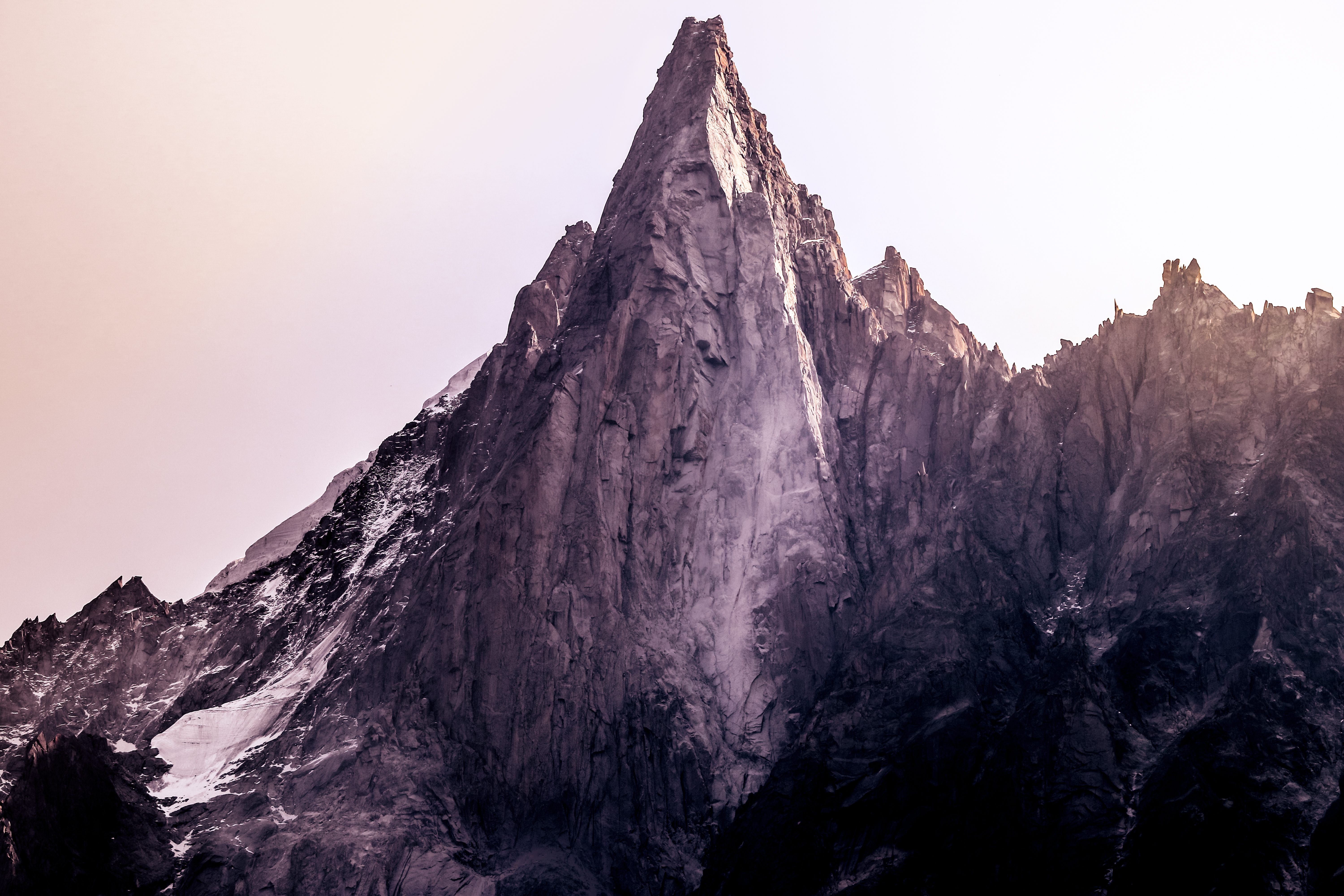 View on the Aiguille de Dru just opposite of the Mer de Glace station above Chamonix, France.