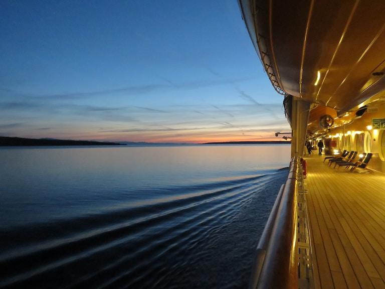 passenger view of cruiser ship on sea