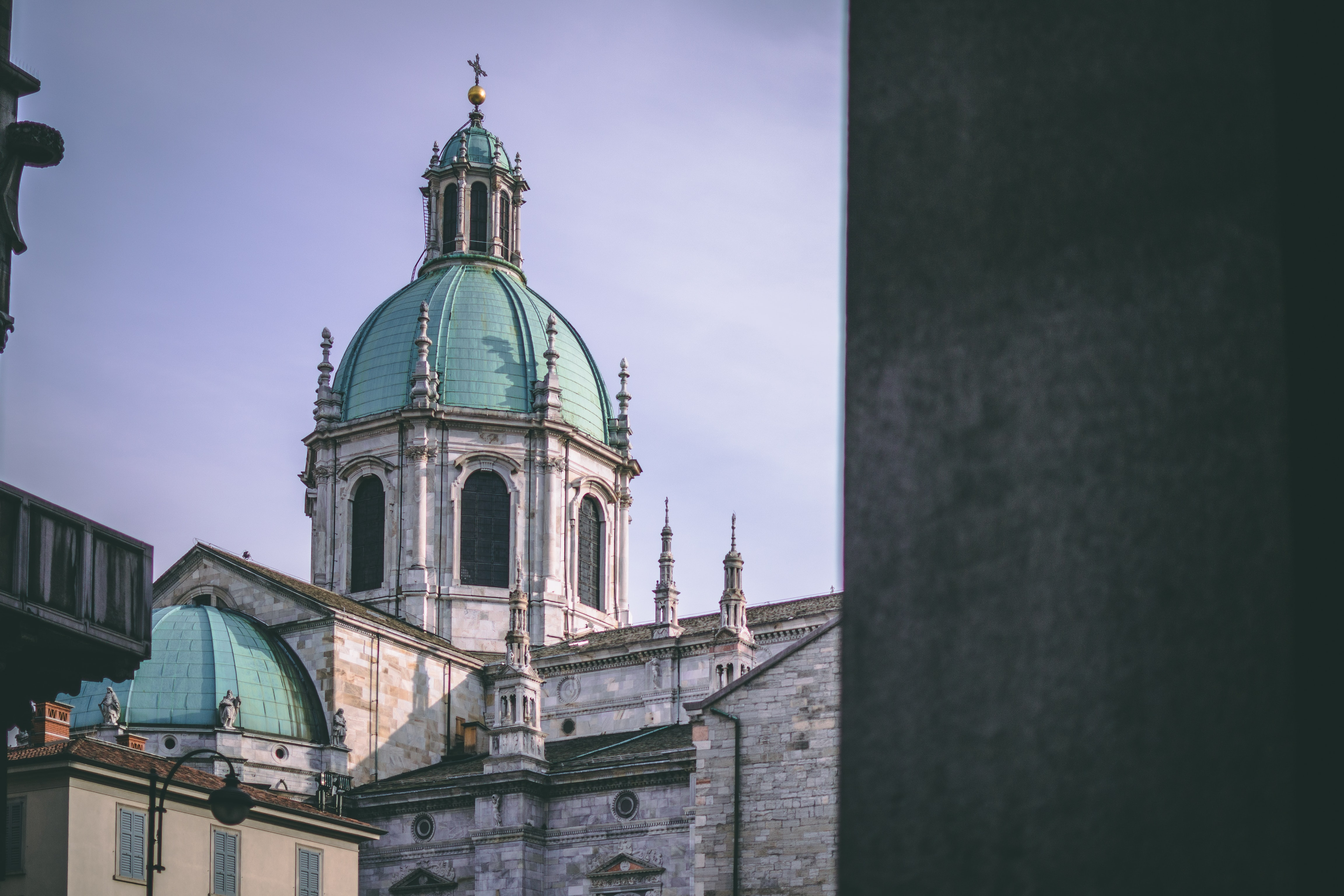 gray and blue dome cathedral