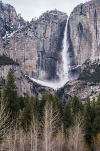 waterfall near tree under cloudysky