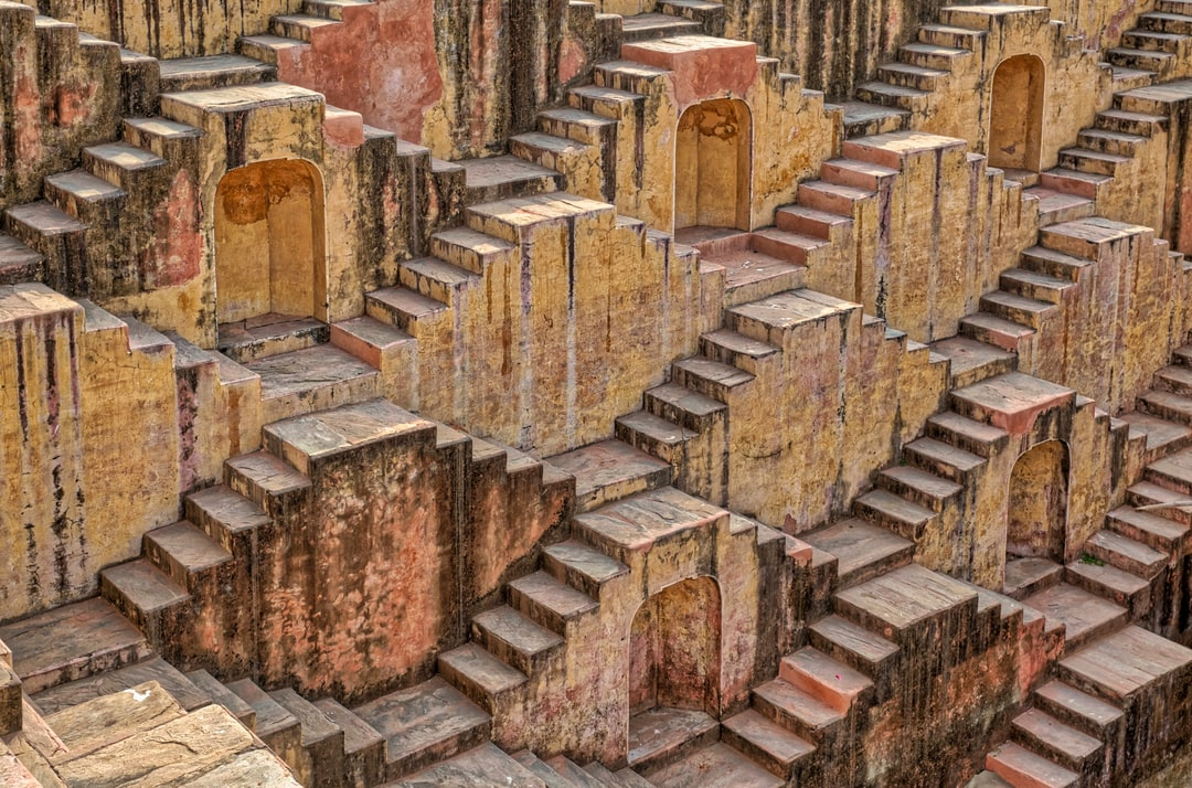 Detail of a stepwell in India.