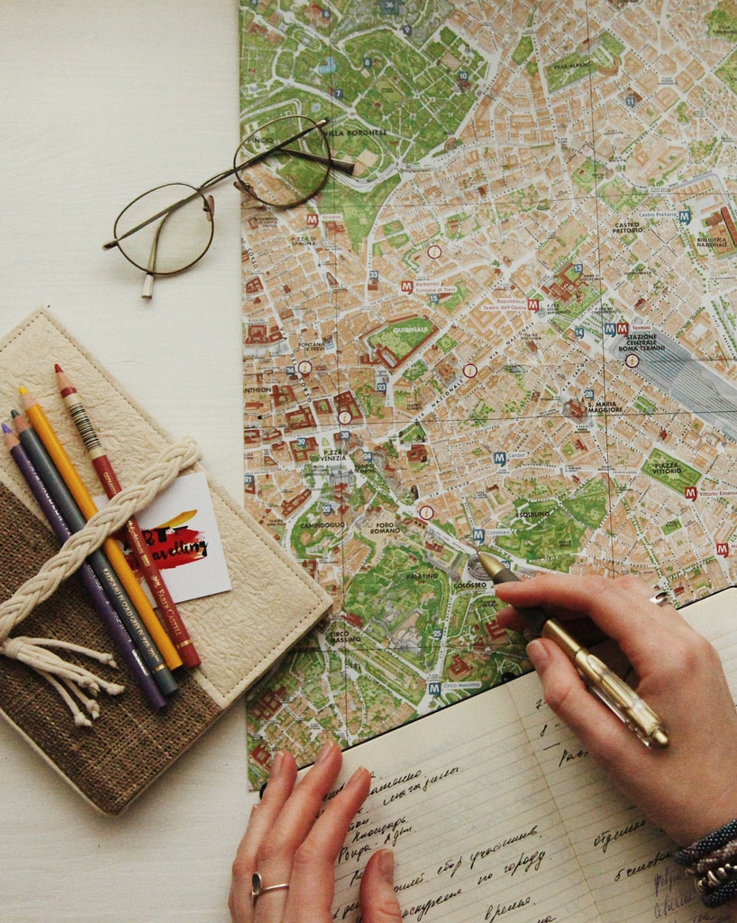eyeglasses on map