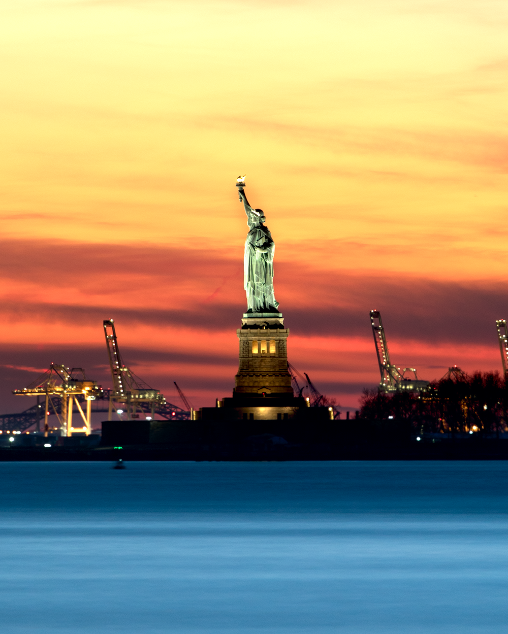 panorama Statue of Liberty during night time