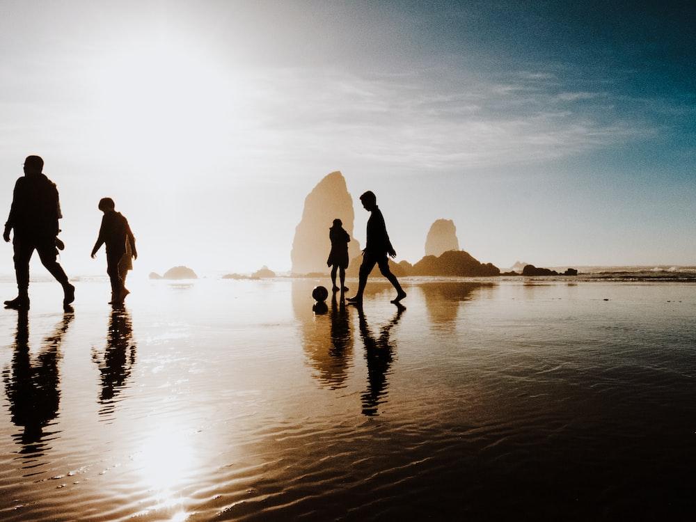 silhouette of people walking body of water