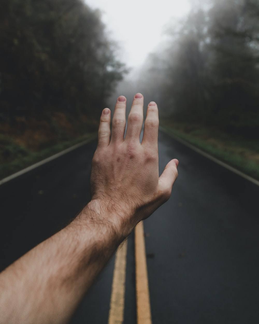 left human hand in the middle of foggy road