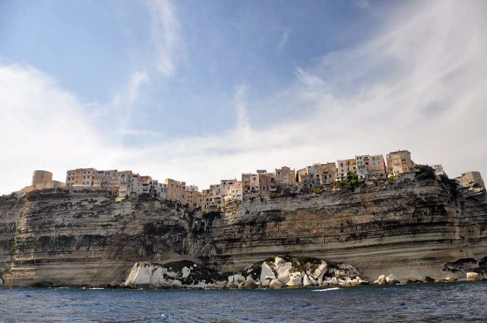 landscape photo of building on cliff