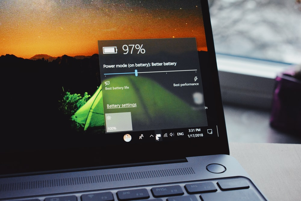 turn-on laptop displaying 97 percent battery