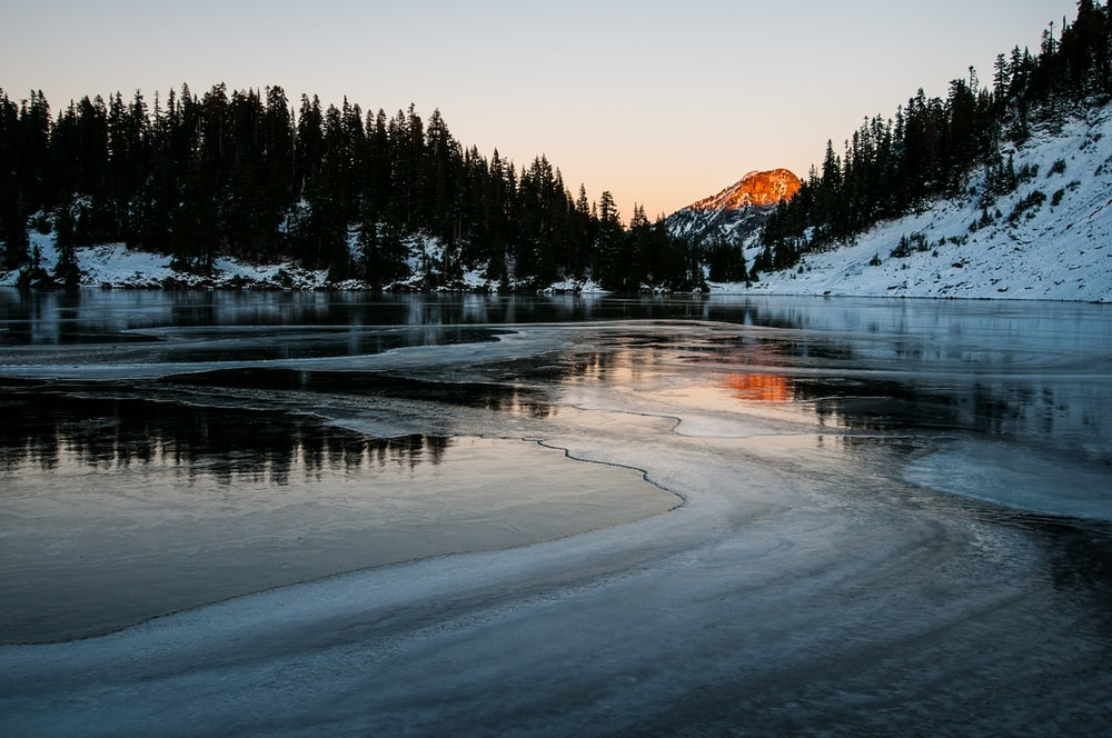frosted lake during daytime