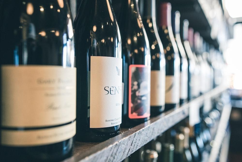 organized bottles on shelf