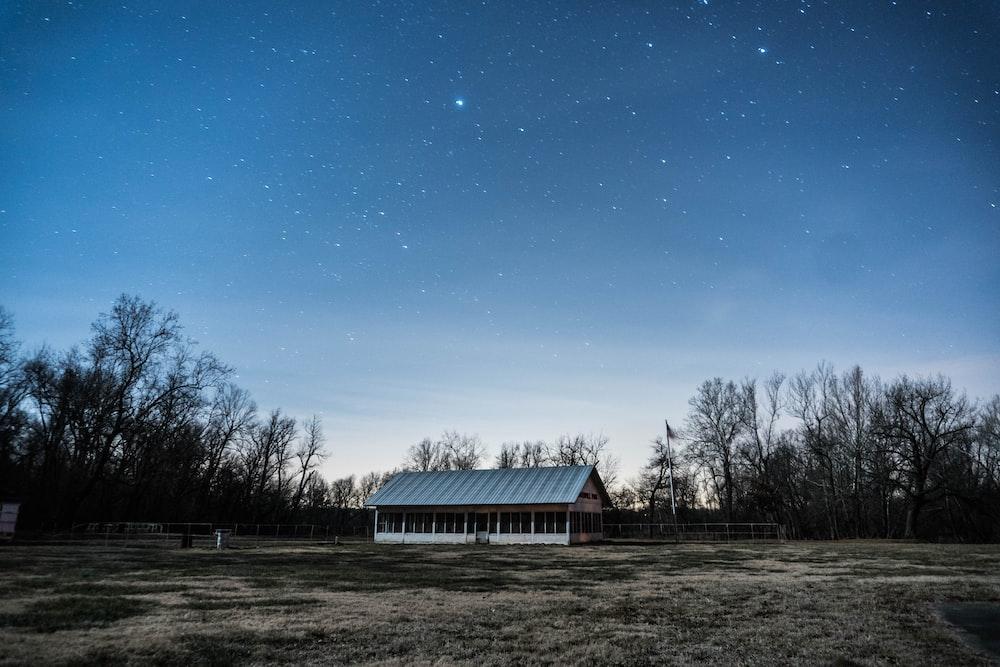 gray shed under starry sky