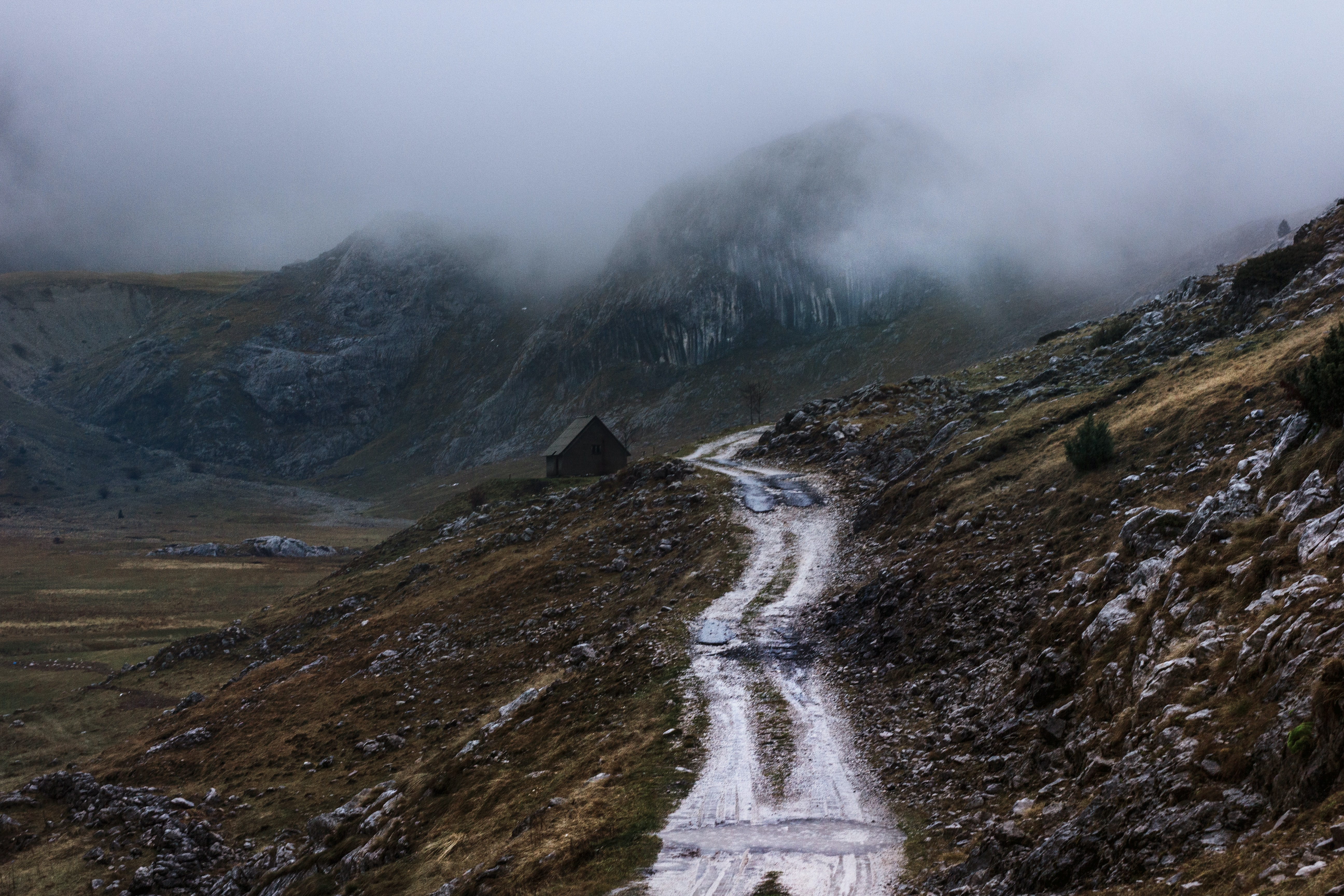 white road on mountain