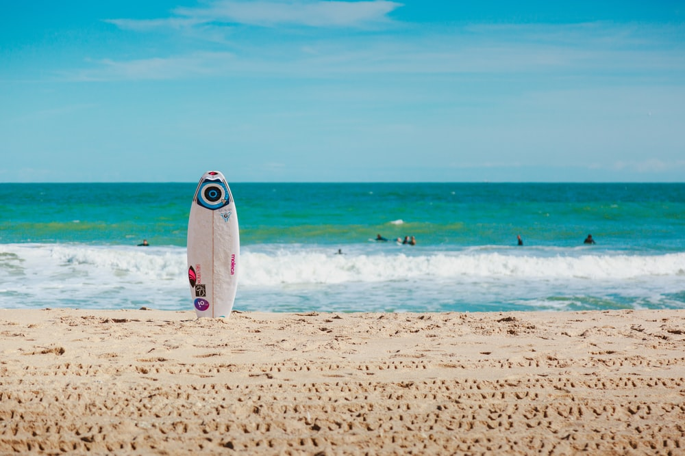 white surfboard vertically standing on seashore