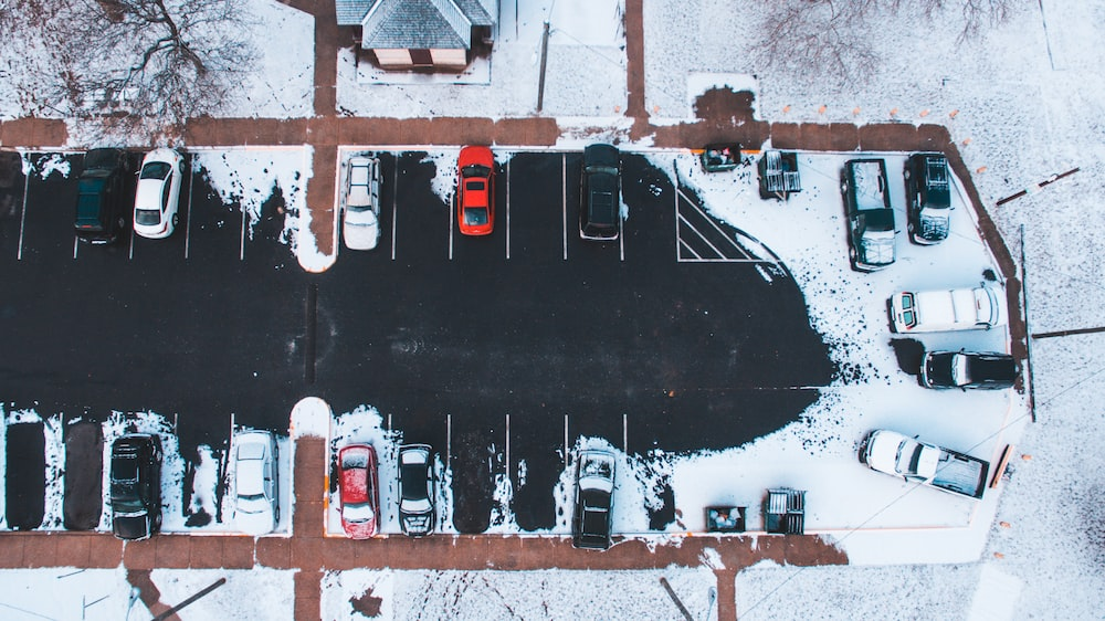 aerial photography of park cars