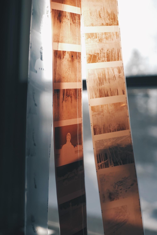 negative films in front of window