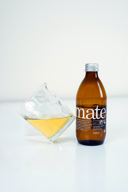 mate liquor bottle and shot glass