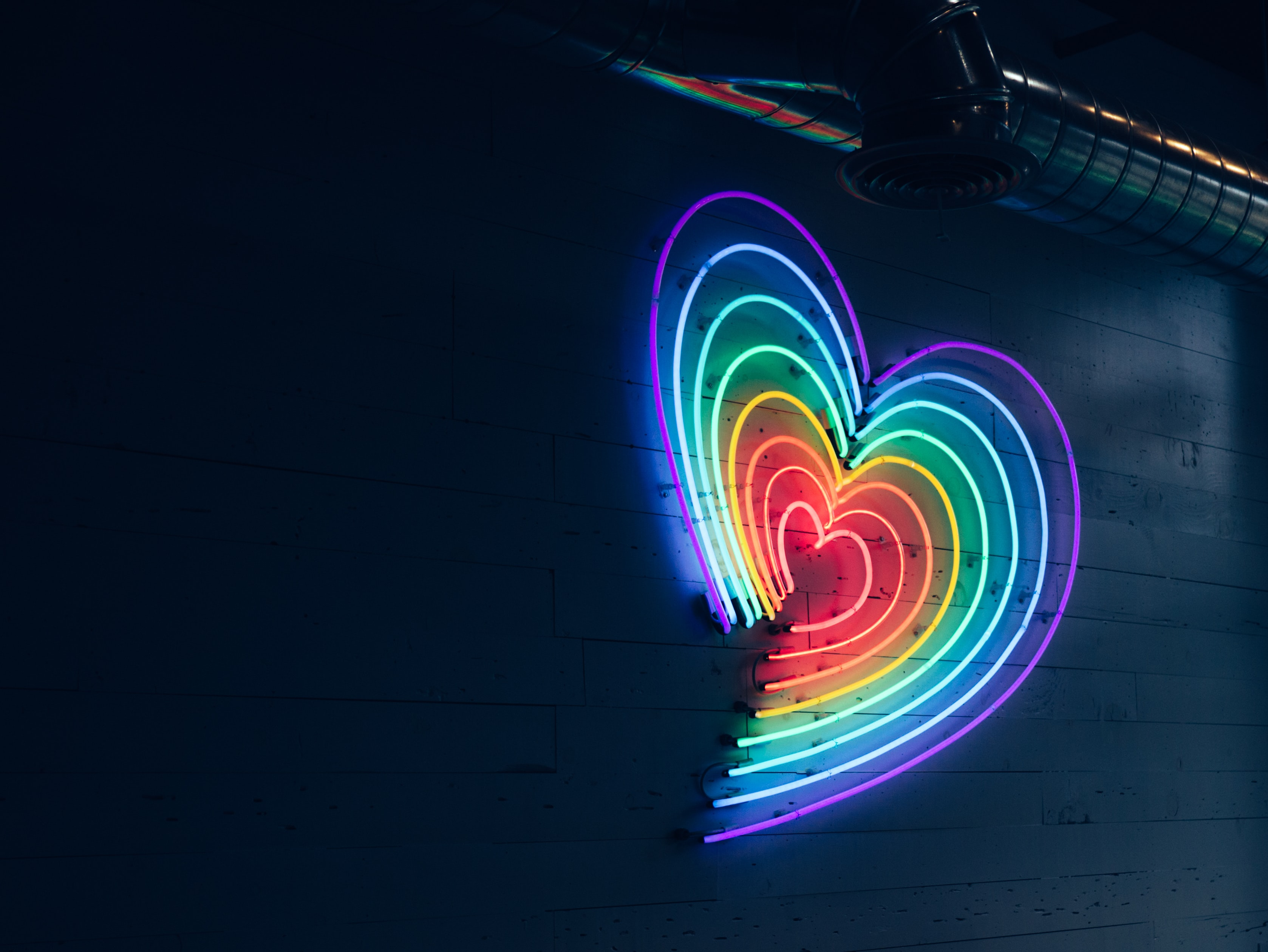 multicolored heart LED light on wall