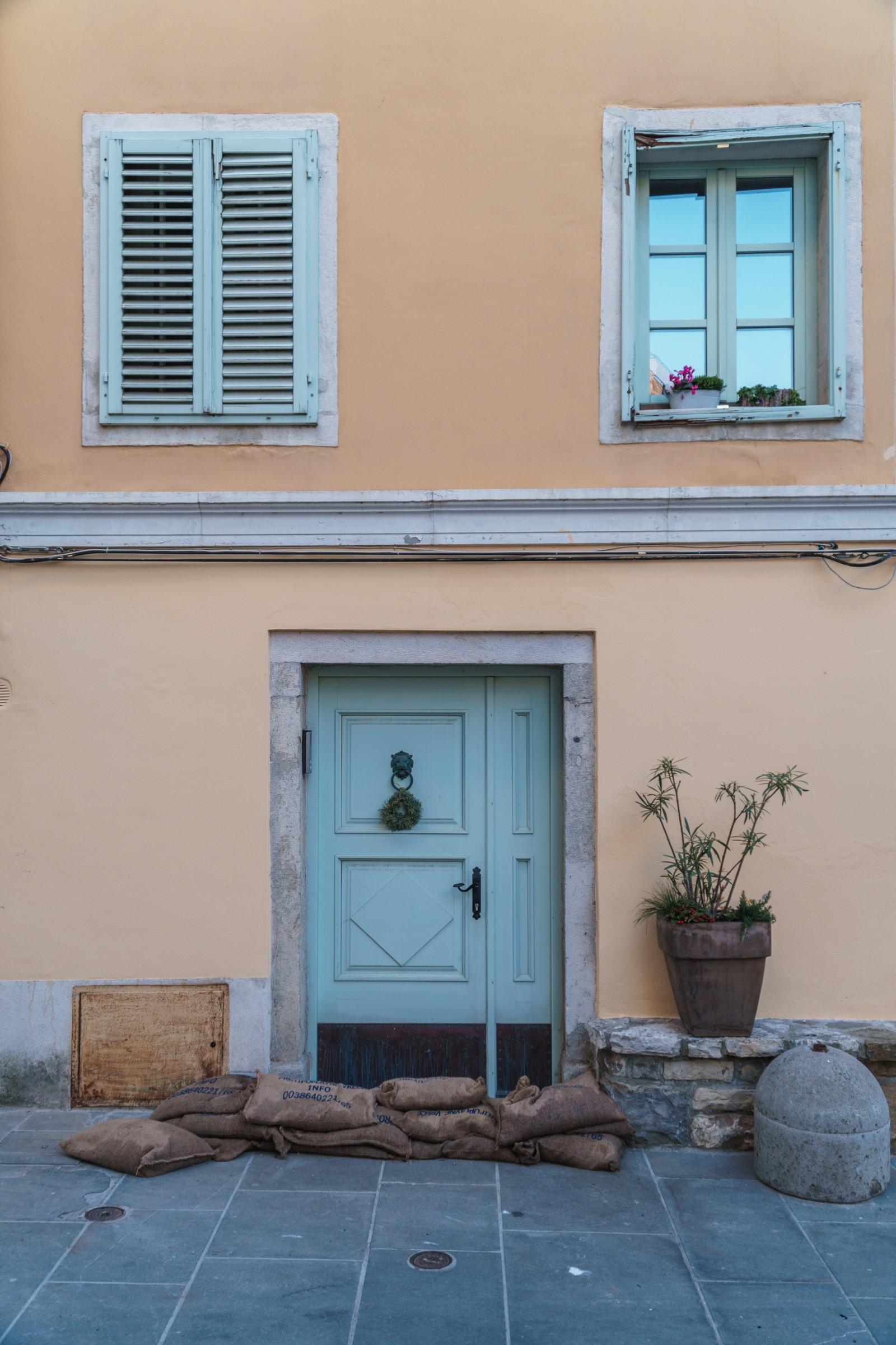 closed door and window