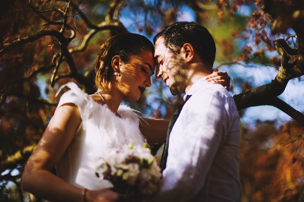 couple under tree tilt shft photo