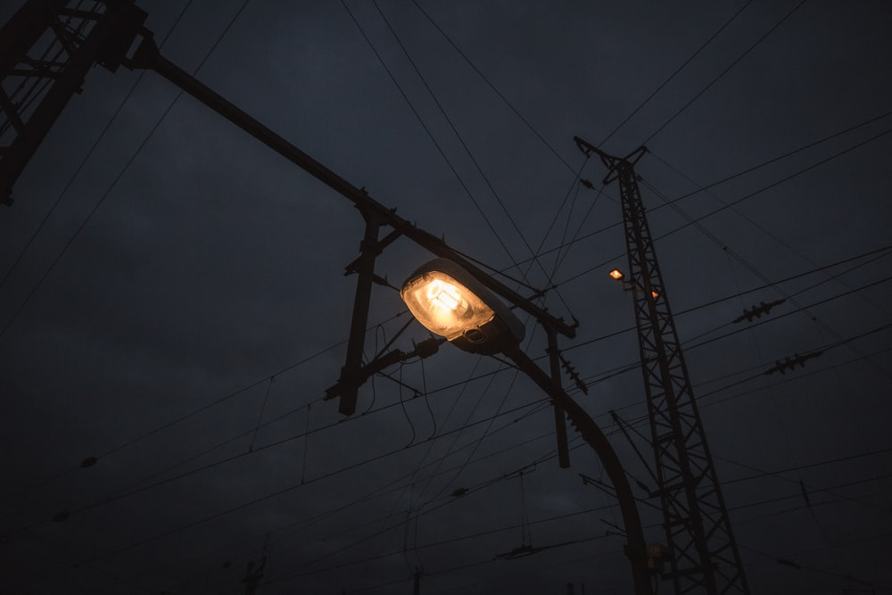 turned on lamp post