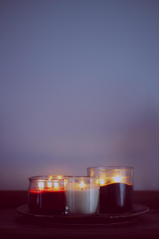 three clear glass cups