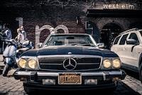 closeup photo of classic black Mercedes-Benz car