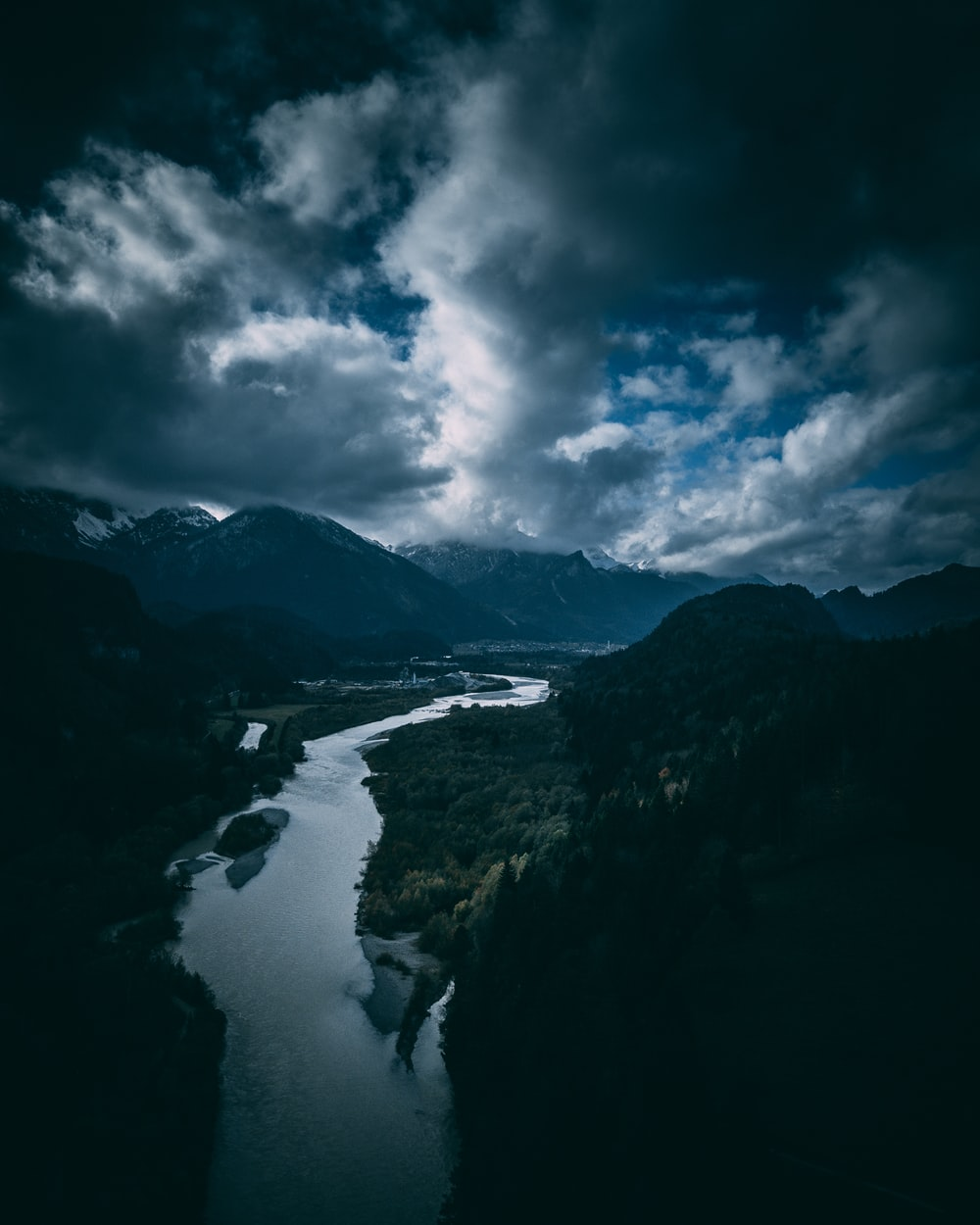 landscape photography of river and mountains