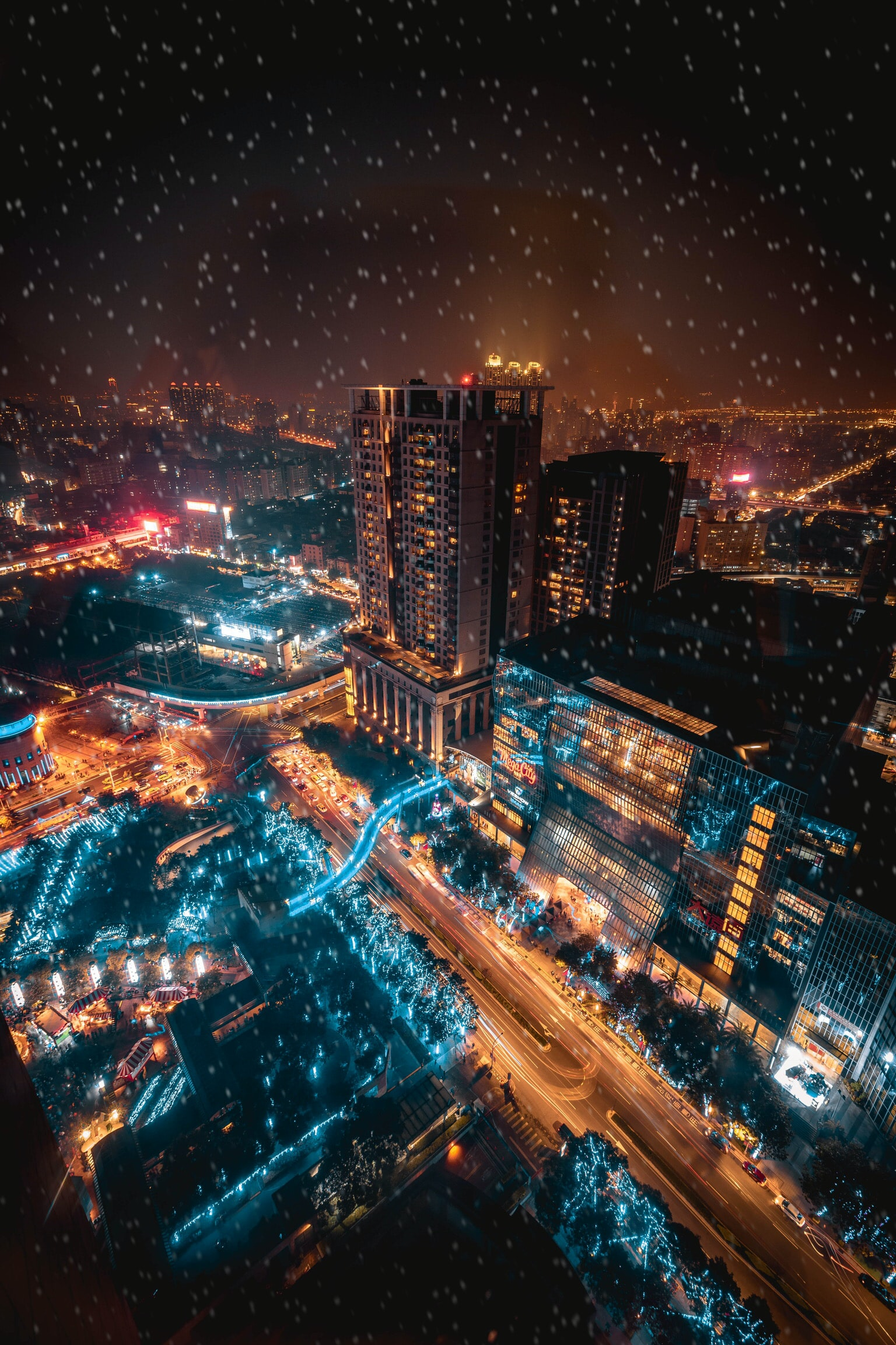 aerial view photography of city buildings during nighttime