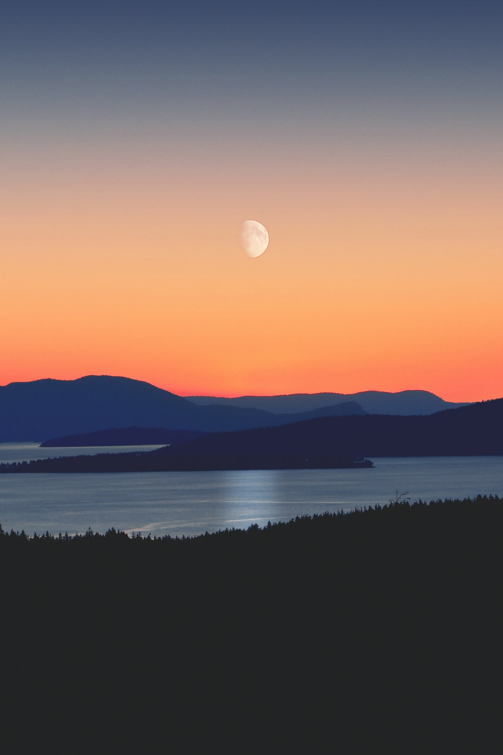 silhouette of mountains next to body of water