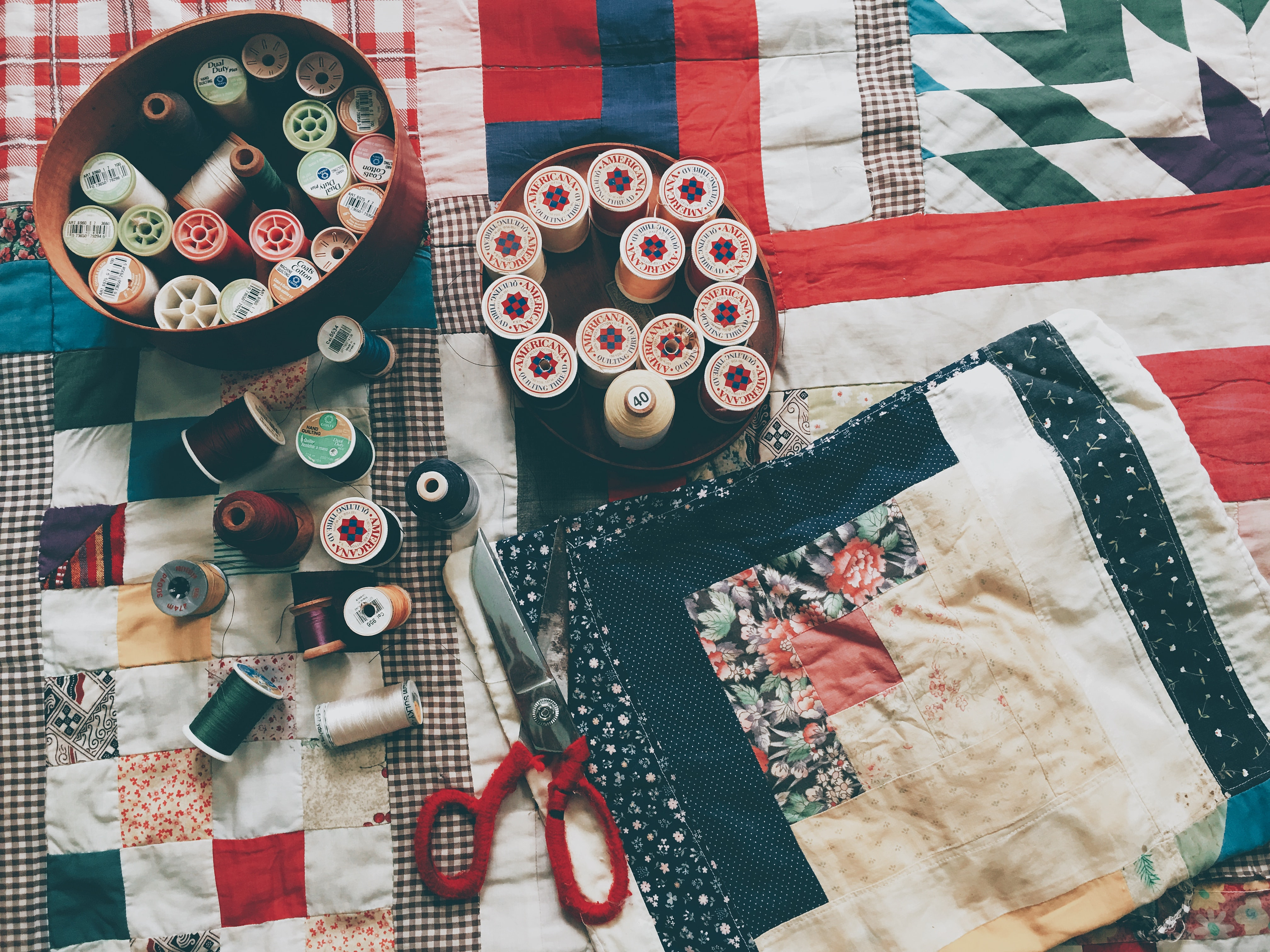 sewing silk and scissors