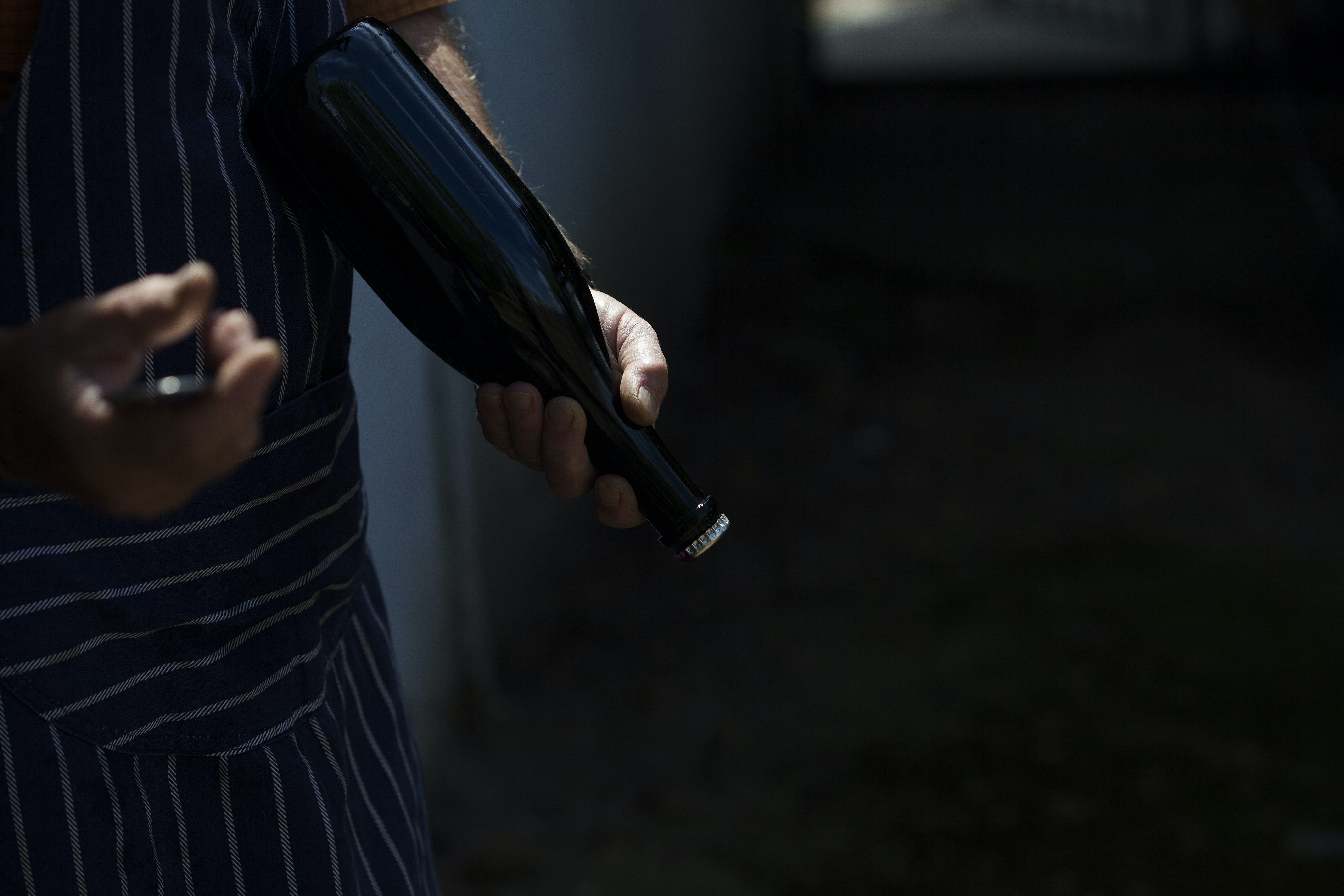 person holding black glass bottle