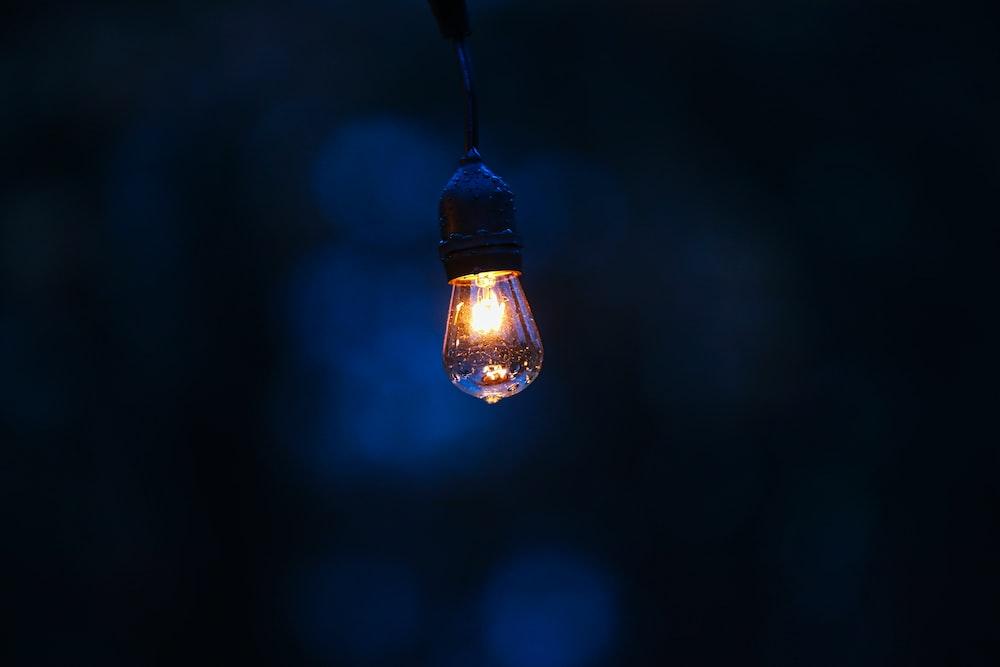 light bulb powered on