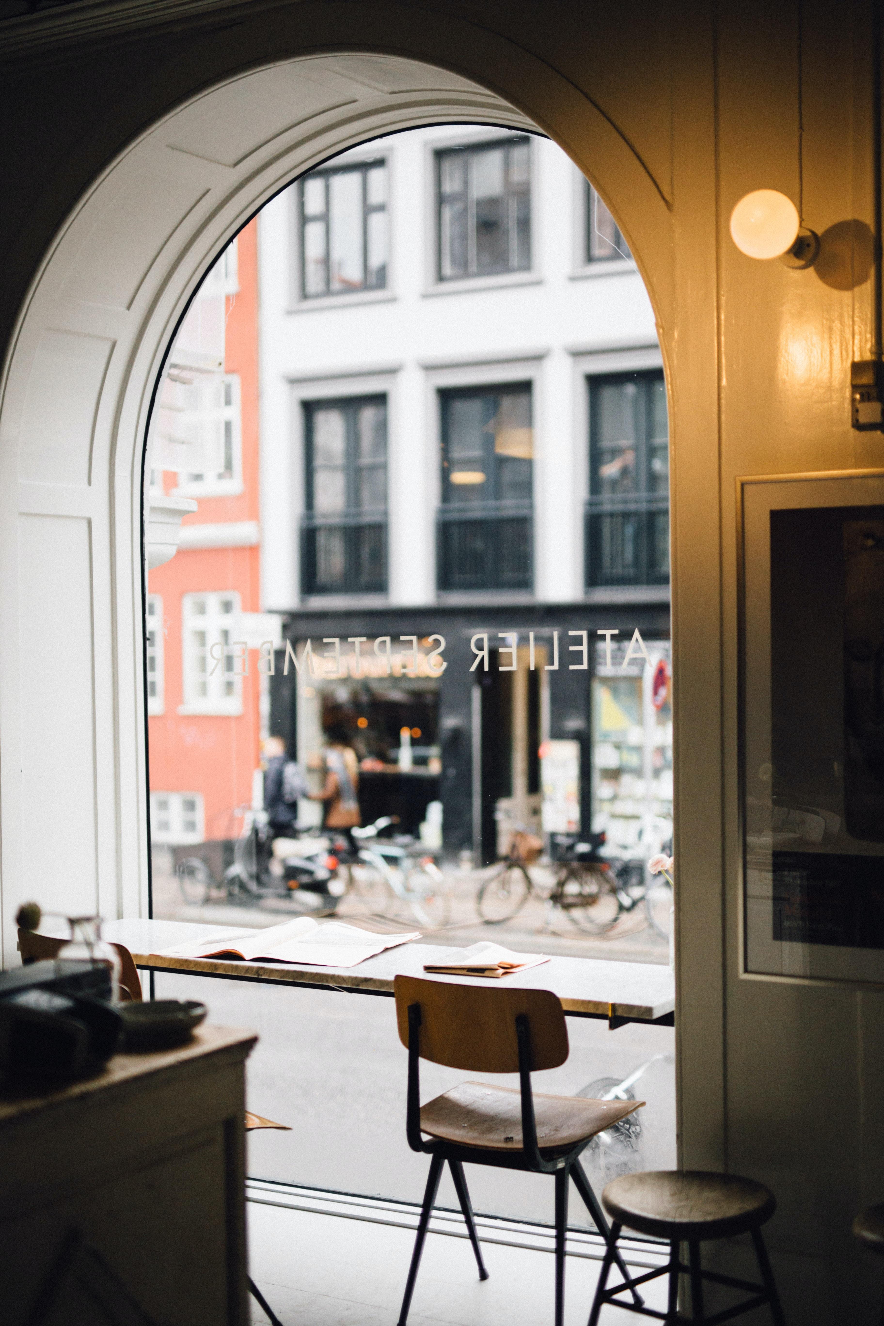 brown chair near table