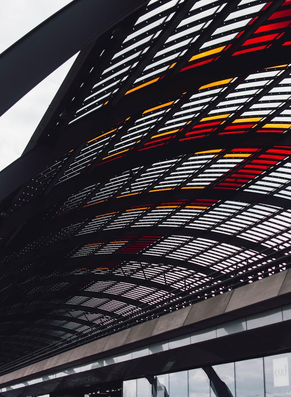photo of black metal roof frames