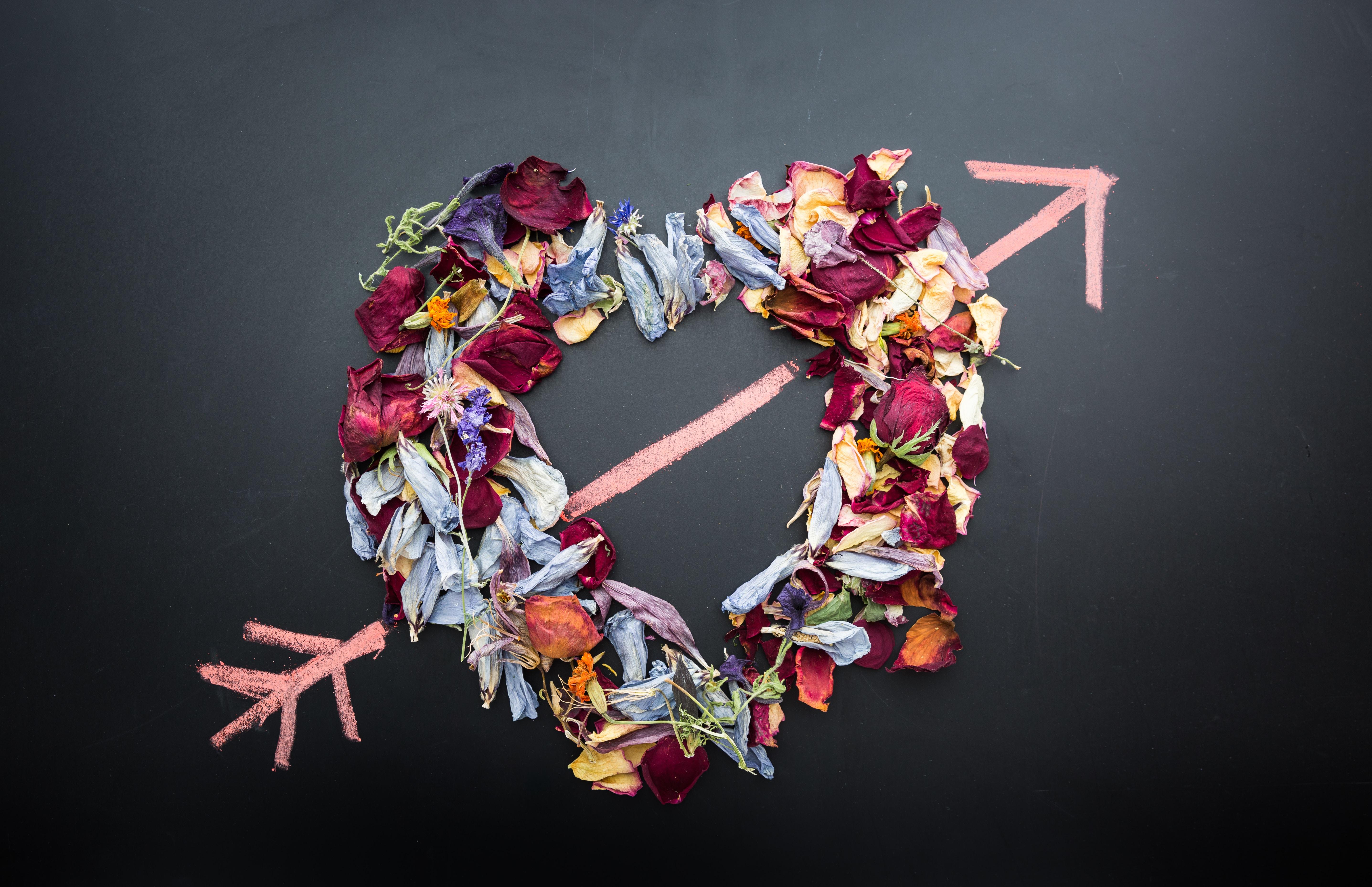 heart shaped flower arrangement