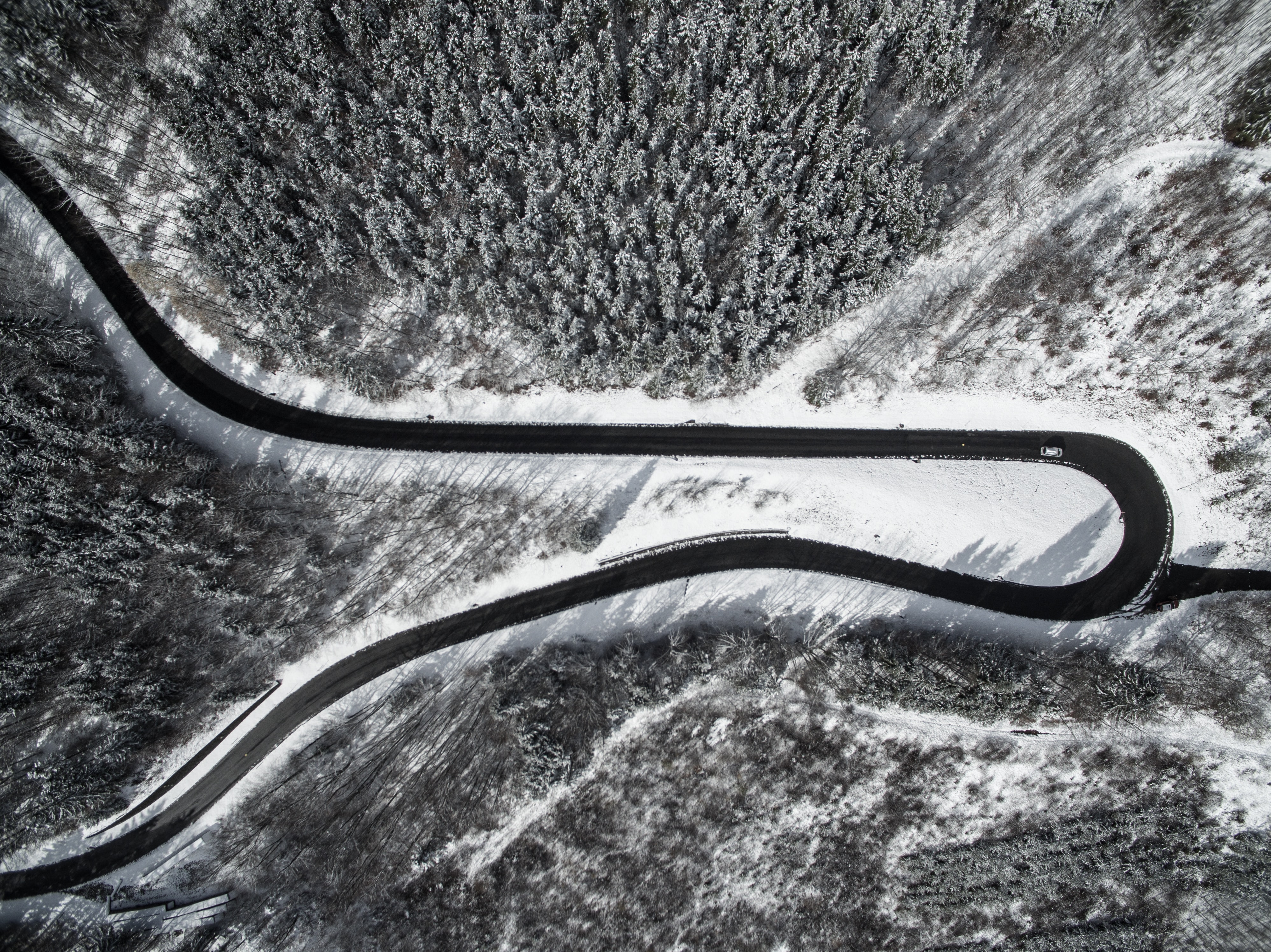 bird's-eye view photography of road