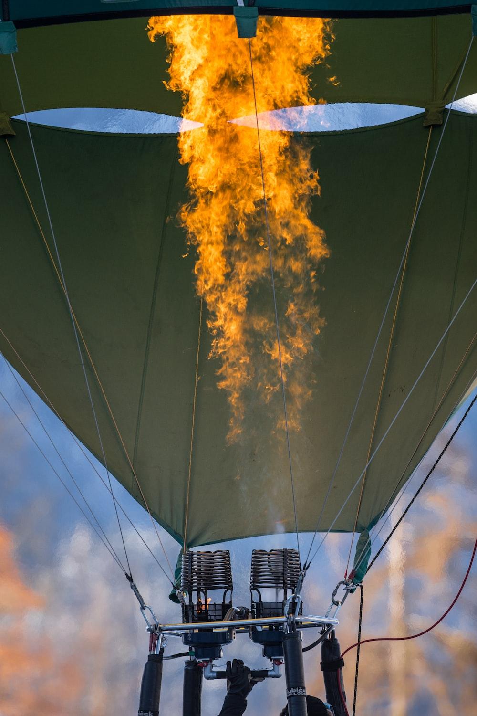 photo of green hot air balloon