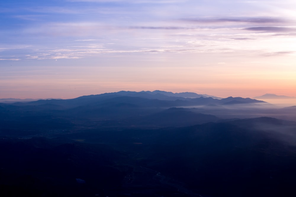 aerial view of blue mountains