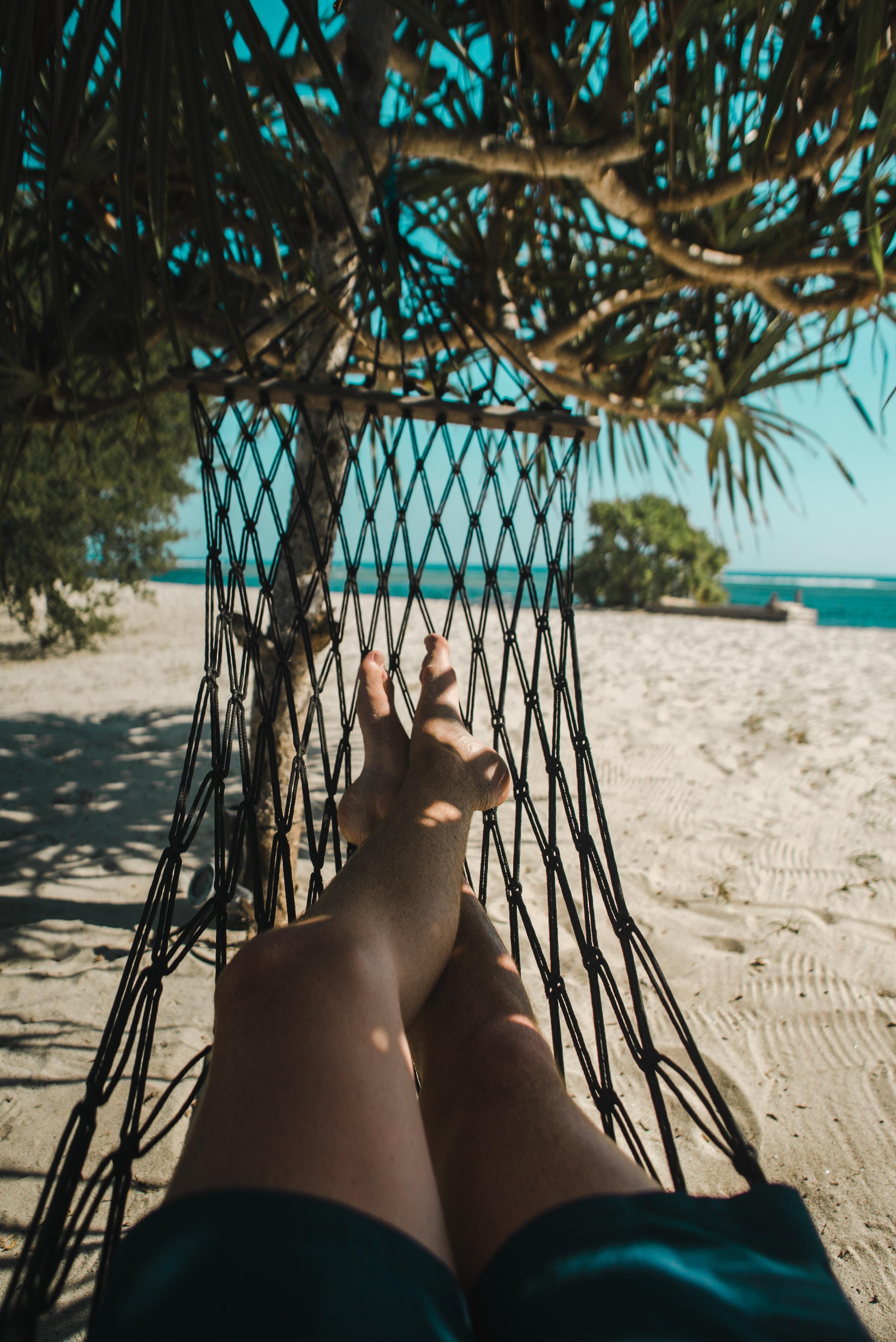 woman lying on the hammock