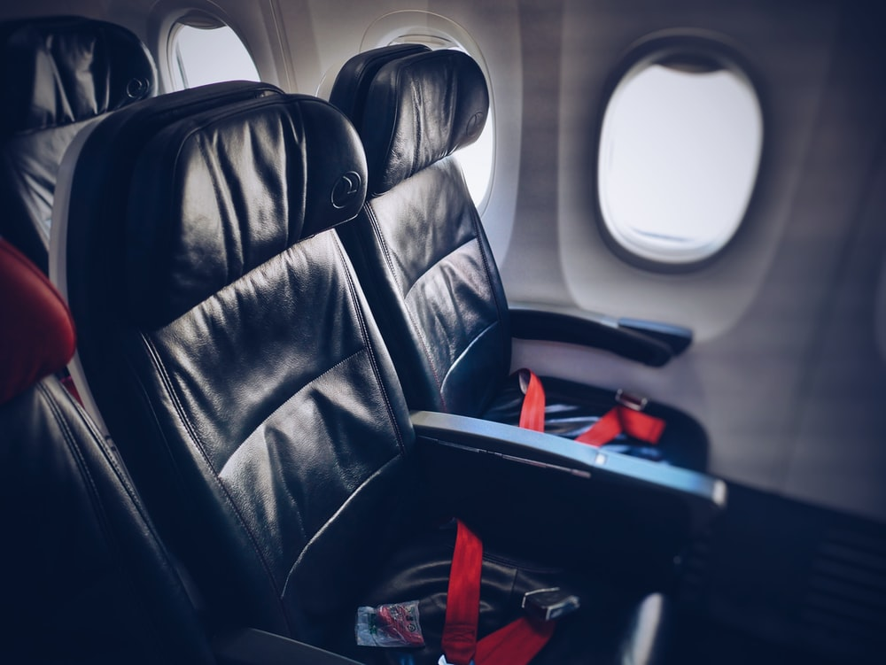 interior photography of airline seats